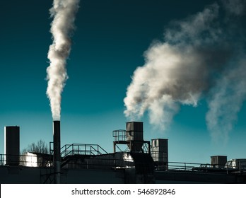Air Pollution from the smokestack of an old  factory
