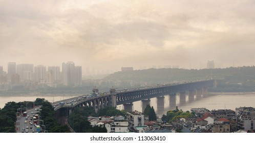 Air Pollution and Traffic on Bridge Number 1, the first bridge over the Yangzi River in Wuhan, Hubei Province, China