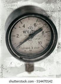 Air pressure gauge, old vintage soviet(Made in USSR), pressure gauge stylised as aged old b&w photos. Industry background.