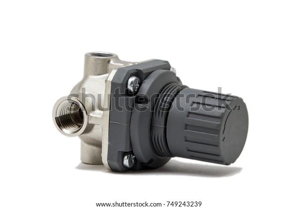 Air Pressure Regulator Isolated On White Stock Photo (Edit