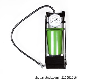 air pump with gauge isolated on white background