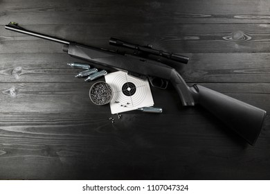 air rifle on co2 and ammunition on the shooting range