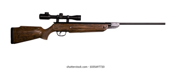 air rifle with optical sight isolated