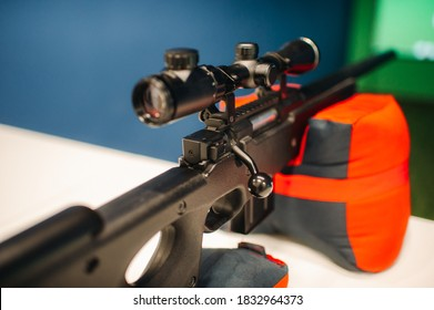 An air rifle for shooting at a shooting range is ready.Shooting range.