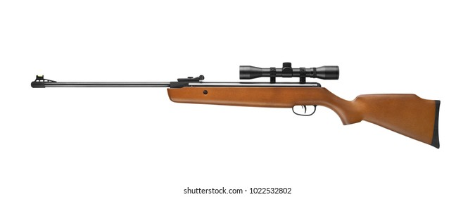 Air rifle wiht sniper scope isolated on white background