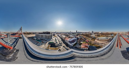 Air roof panorama in center of old city with beautiful architecture.  Full 360 by 180 degree seamless spherical panorama in equirectangular equidistant projection.