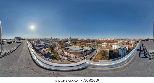 Air roof view 360 panorama in center of city with beautiful architecture.  Full 360 by 180 degrees seamless spherical panorama in equirectangular projection.  Skybox as background for VR AR content