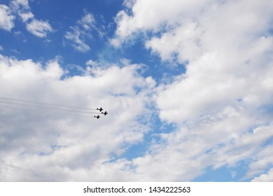 air show on the blue sky