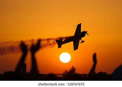 Air show at sunset