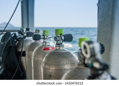 Air Tanks and Gear for Scuba Diving at a  Live-aboard - Similan Islands, Thailand