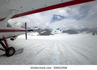An air taxi landing on glacier in Denali National Park, Alaska, US in July 2016.