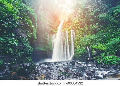 Air Terjun Tiu Kelep waterfall near Rinjani, Senaru, Lombok, Indonesia, Southeast Asia.