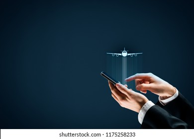 Air ticket booking on smartphone app or online travel insurance concepts. Person with smart phone and symbol of a plane.