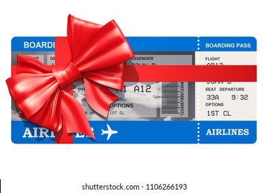 Air Ticket with gift bow. 3D rendering isolated on white background