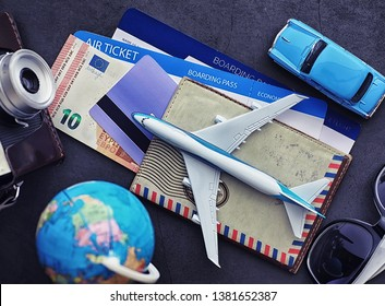 Air ticket and passport for flight by plane. Travel concept Ticket booking.