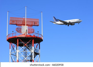 air traffic control, radar with airplane in background