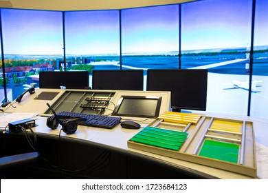 Air traffic control simulator station.