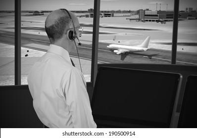 Air traffic controller at work
