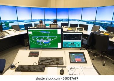 "Air traffic monitor and radar in the controll center room of Bulgarian Air Traffic Services Authority"" (BULATSA), Sofia, Bulgaria, November 12, 2015."