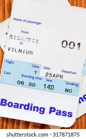 Air travel boarding pass from Riga to Vilnius
