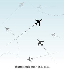 Air travel. Dotted lines are flight paths of commercial airline passenger jets flying in air traffic.