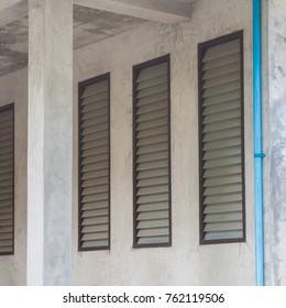 air ventilator ,metal louver slat on concrete wall