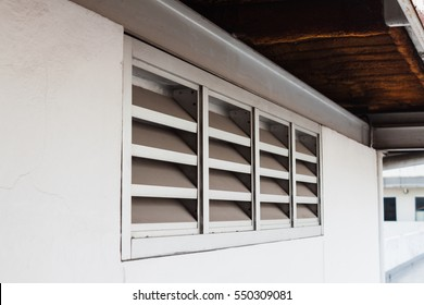 air ventilator ,metal slat frame on concrete wall