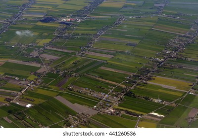 a air view of  agraculture fields near the city of Chiang Mai in the north of Thailand in Southeastasia.