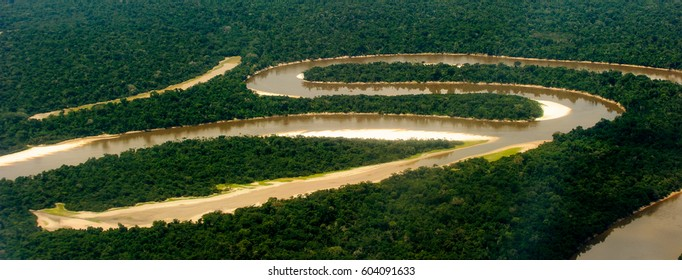 Air view of the Amazon part of the river
