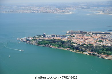 The air view of Cacilhas on the south bank of the Tagus estuary facing the city of Lisbon. Almada. Lisbon. Portugal