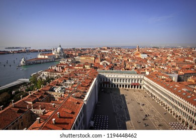 Air view to famous San Marco square in Venice, Italy