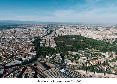 Air view of Retiro Park in Madrid, Spain