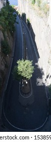 Air view to U-turn at Sorrent