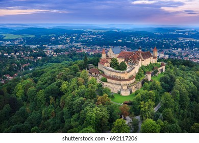 Air view of Veste fortress in Coburg, Bavaria, Germany