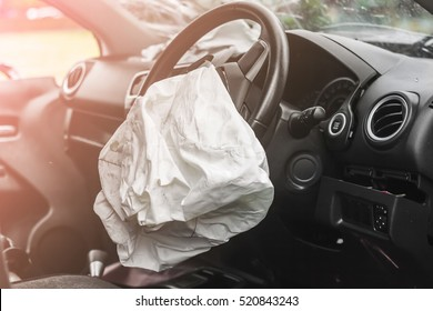 Airbag exploded at a car accident and illuminated