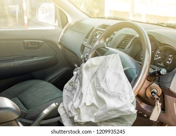 airbag exploded at a car accident,Car Crash and illuminated