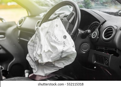 Airbag exploded at a car accident,Car Crash and air bag