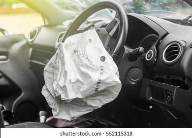 Airbag exploded at a car accident,Car Crash and air bag