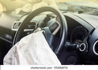 Airbag exploded at a car accident,Car Crash air bag and illumination