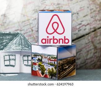 Airbnb logo. Concept of housing. November, 2016 - Minsk, Belarus.