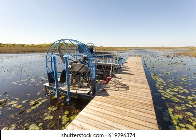 Airboat at a jetty in the Everglades National Park. Florida, United States