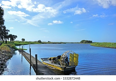 Airboat in the middle of St. Johns River