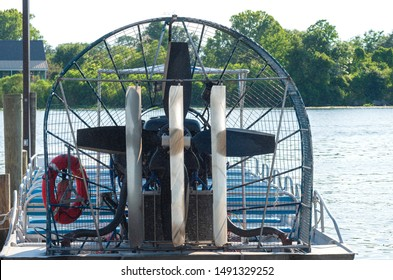 airboat or swamp boat closeup docked at pier