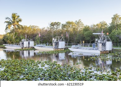 Airboats in the Everglades National Park. Florida, United States