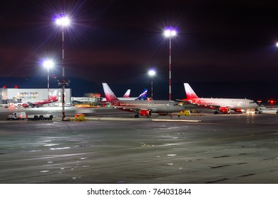 Airbus a319 Rossiya airlines, airport Pulkovo, Russia Saint-Petersburg November 22, 2017