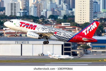 Airbus a319 of TAM Latam Airlines with special livery of Rio de Janeiro livery departure of Congonhas Airport in Sao Paulo, Brazil - 2018