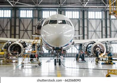 Airbus a320 for maintenance in the hangar. Russia, Saint-Petersburg, November 2016