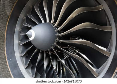Airbus A320 NEO engine. Modern aircraft. CFM Leap-1A engine. Airplane engine. Aircraft engine blades.