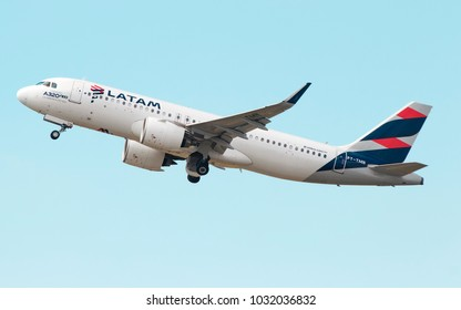 Airbus a320 NEO of Latam Airlines at Guarulhos International Airport, Sao Paulo Brazil - 2018