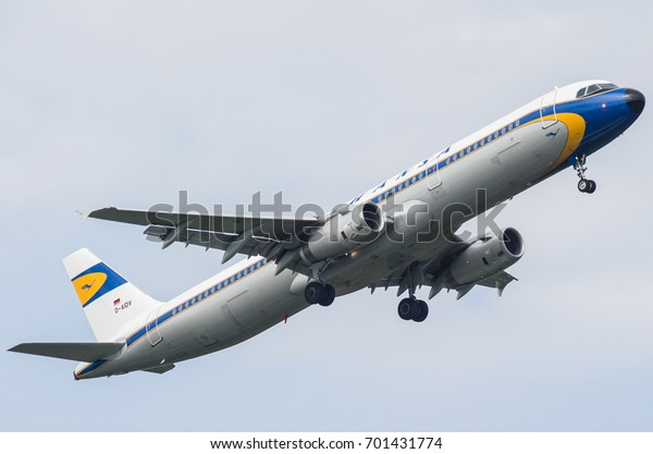 Airbus A321 Retro Livery Lufthansa Russia Stock Photo (Edit